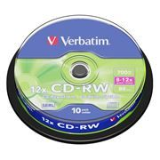 Диск CD-RW VERBATIM 700Mb 8x-12x, Cake Box, 10шт (43480)