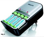 Зарядное устройство и 4 аккумулятора (размер AA, 2100 mah)