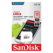 Карта памяти Micro SDHC 16Gb Sandisk Ultra Android Class 10 UHS-I, 80 Мб/с (SDSQUNS-016G-GN3MN)