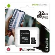 Карта памяти Micro SDHC 32Gb Kingston Class 10 Canvas Select + UHS-I U1 A1, 100 Мб/с + адаптер SD