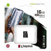 Карта памяти Micro SDHC 16Gb Kingston Class 10 Canvas Select + UHS-I U1 A1, 100 Мб/с (SDCS2/16GBSP)