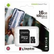 Карта памяти Micro SDHC 16Gb Kingston Class 10 Canvas Select + UHS-I U1 A1, 100 Мб/с + адаптер SD